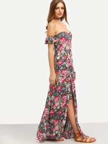 5365f3b995 Multicolor Floral Off The Shoulder Split Maxi Dress -SheIn(Sheinside ...