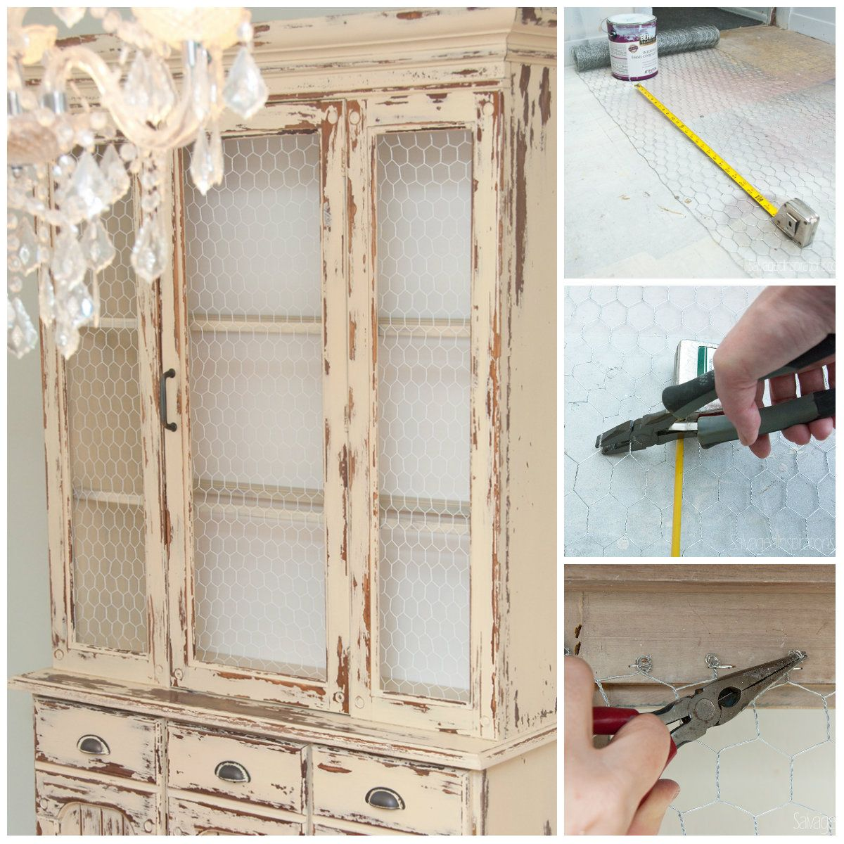 Replace Glass W Chicken Wire Tutorial1. Dining CabinetCabinet DoorsChicken  Wire CabinetsDiy DressDress UpWire ...
