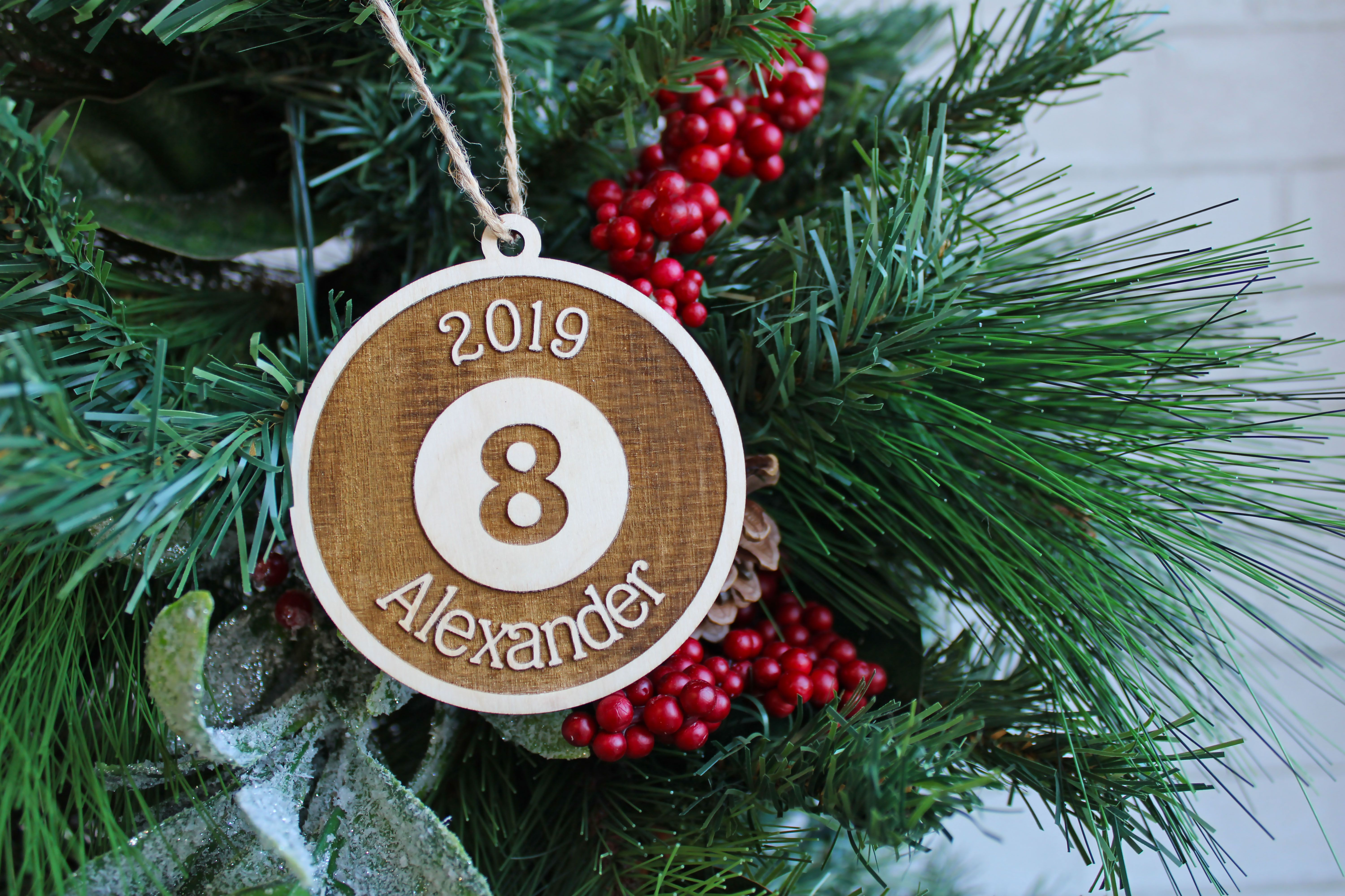 8 Ball Pool Billiards Christmas Ornament Wood