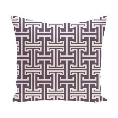 E by Design Greek Isles Geometric Decorative Pillow Purple Polyester - PGN242PU1...