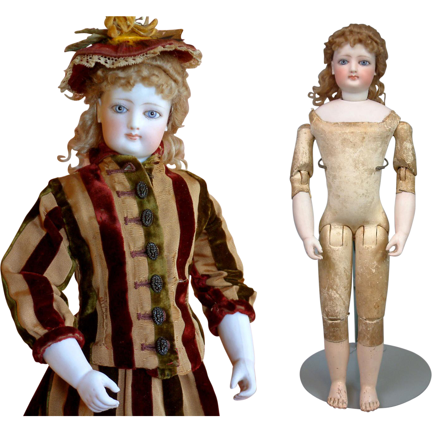 """15.5"""" Kid Over Wood Bodied Poupee In Perfect Condition By Gaultier for Emile Jumeau With Full Trousseau"""