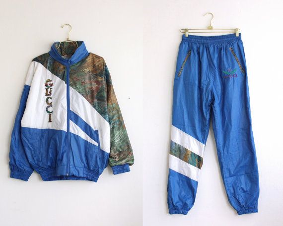 eaf60747f0c9 vintage 80s Gucci tracksuit  rare Gucci windbreaker jacket and track pants  blue  white tracksuit size M medium