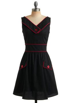 A Cherry Good Day Dress. A quick trip to the goodies store has gotten you all giddy for your favorite licorice candy! #black #modcloth