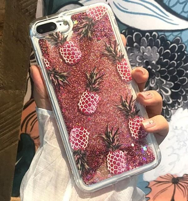 Bling Glitter Dynamic cactus pineapple Liquid Quicksand Phone Back For iPhone  6 6 S 7 Case For iPhone 7 8 X 6S Plus Capa 90d239a092b8