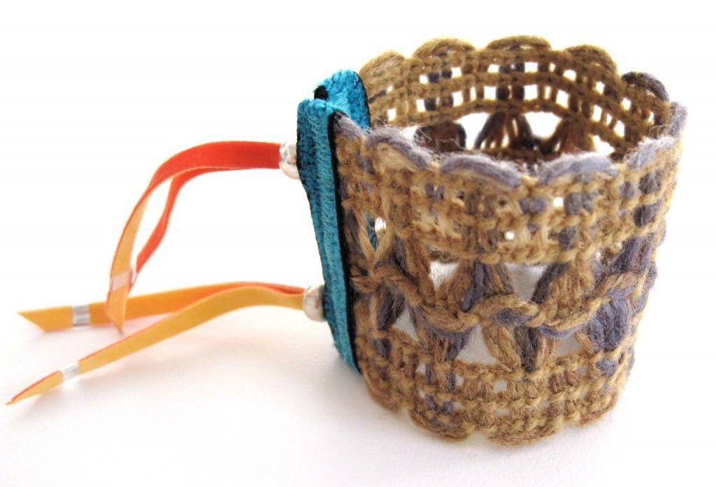 woven vintage ribbon bracelet.  by Julie Rofman...  Lovin' it!