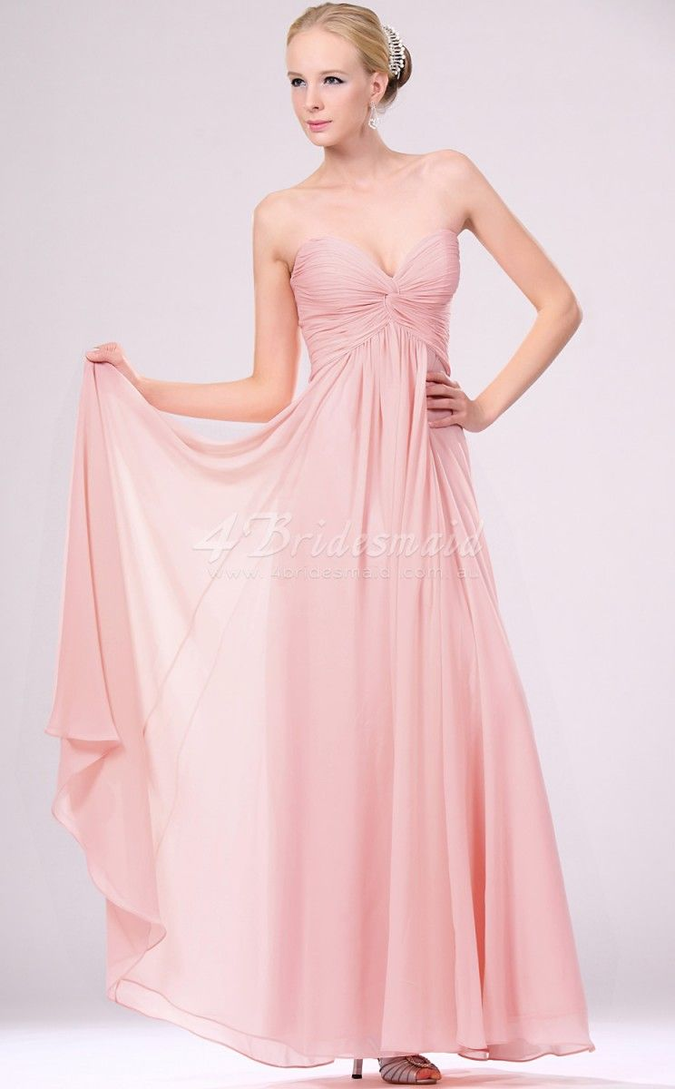a-line-sweetheart-neck-long-pink-chiffon-bridesmaid-dresses ...