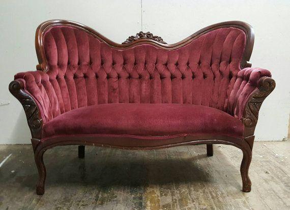 Antique Red Velvet Tufted Loveseat   Vintage Burgundy Sofa / Couch    Stunning Victorian Cranberry Velvet