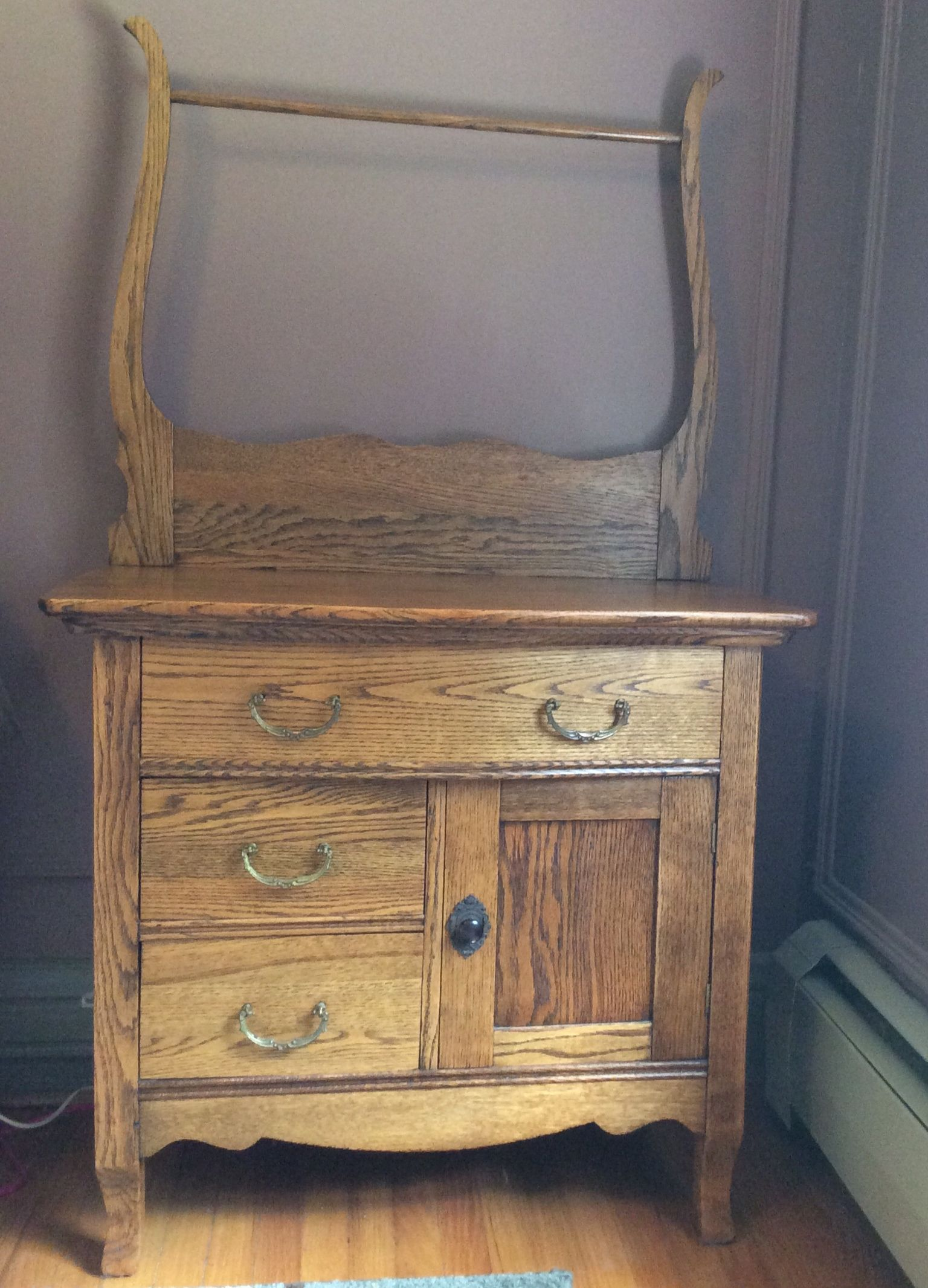Antique turn of the century oak washstand w bowed top drawer and ...