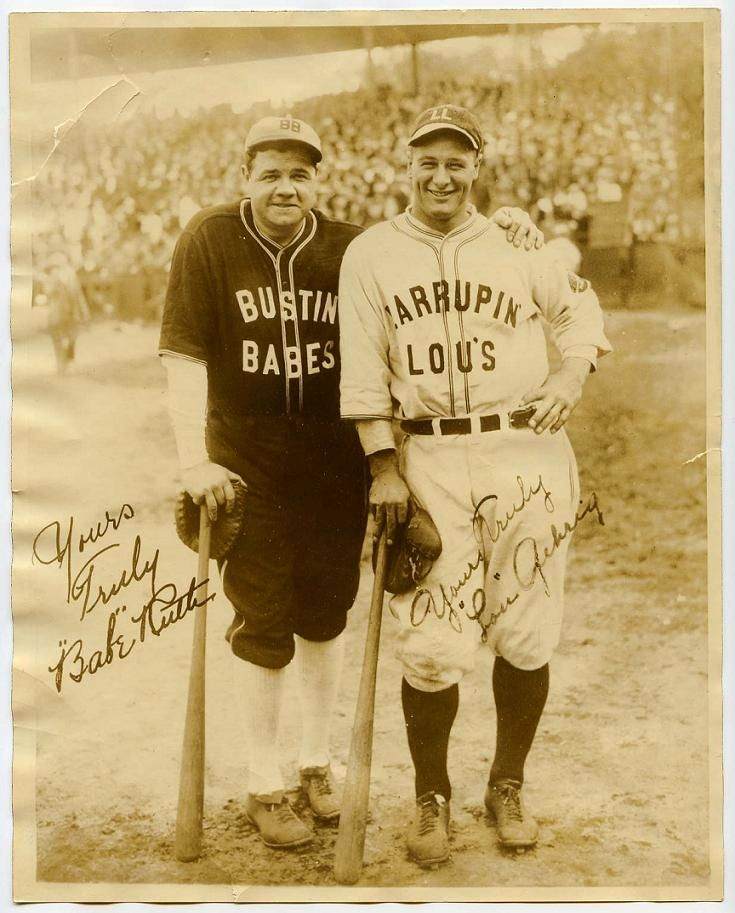 Photo of Babe Ruth tortures Lou Gehrig with some lovely saxophone melodies