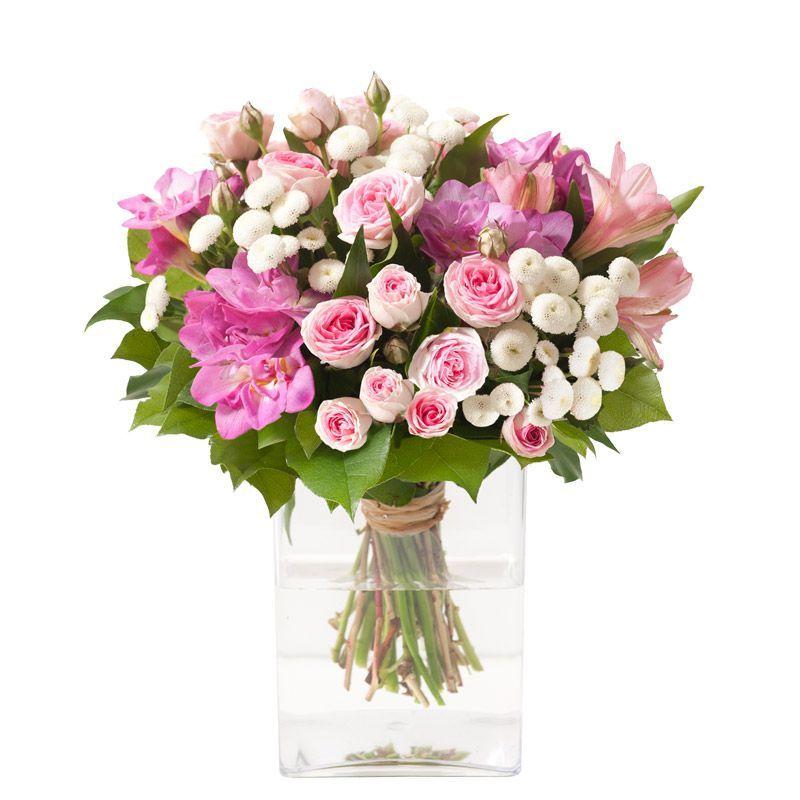 Sourire Roses Et Fleurettes Roses Et Blanches Interflora