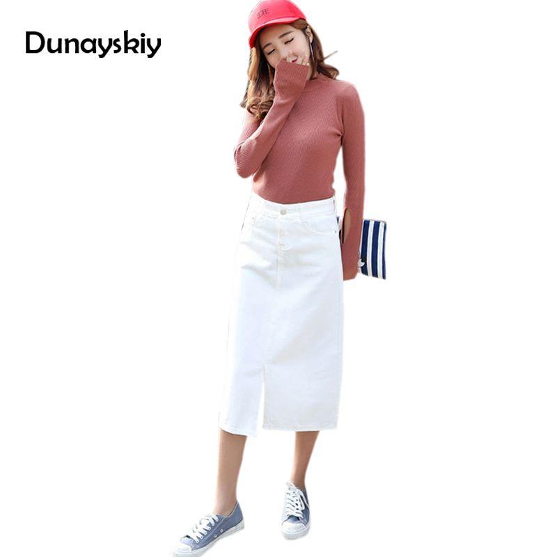 Fashion Jupe Jean Straight Skirts Womens Summer Autumn Female Pencil Mid Calf Denim Skirts Stretch Saia Promotion Dunayskiy