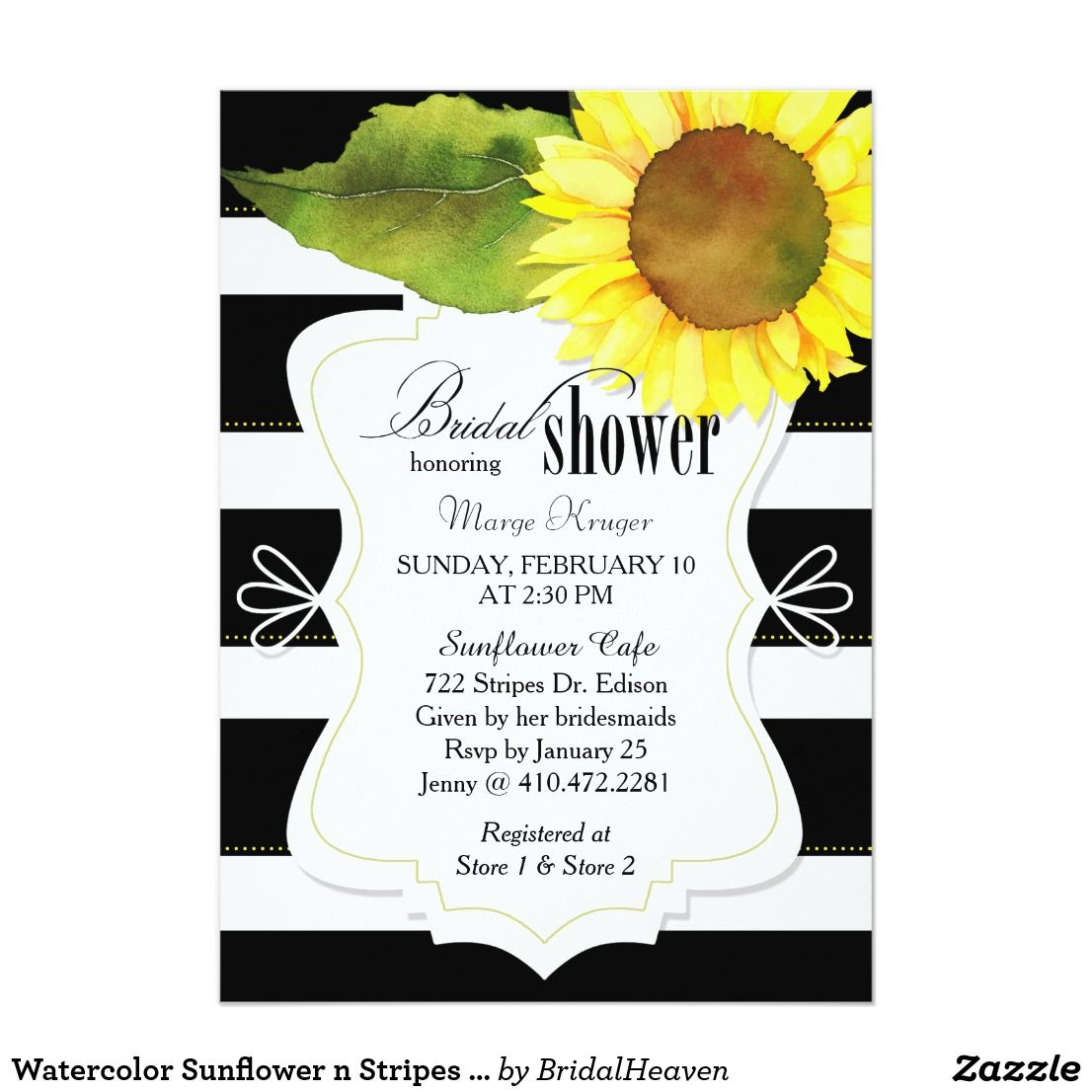 Watercolor Sunflower n Stripes Bridal Shower Card | Watercolor ...
