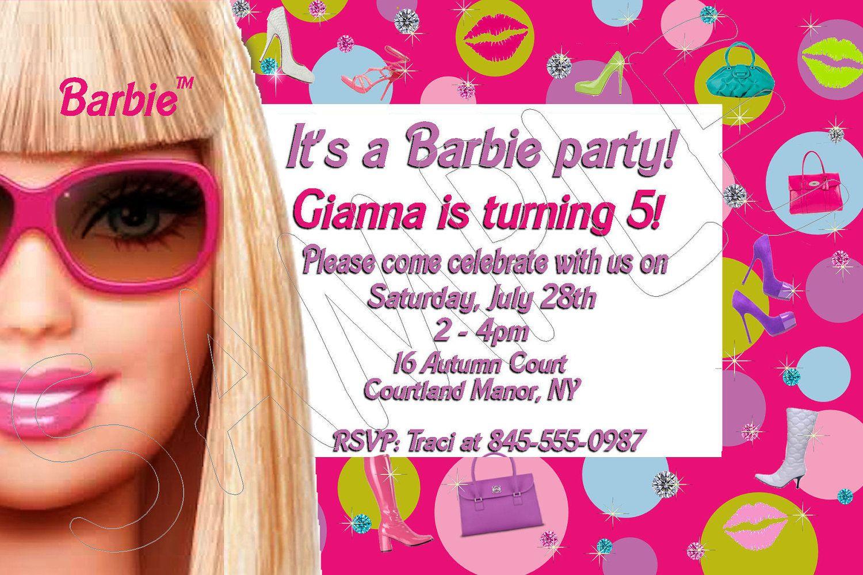 Free Printable Barbie Birthday Invitations | Kids party ideas ...