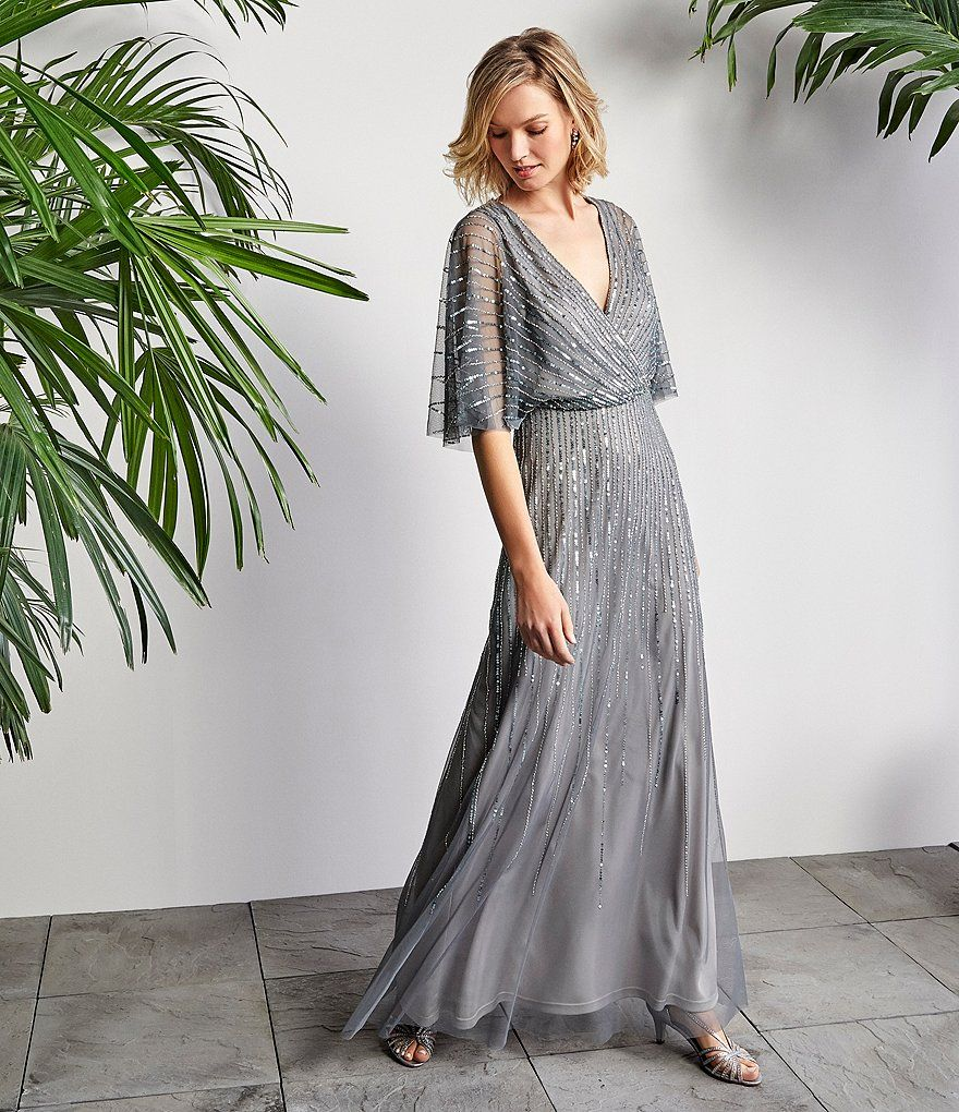 7835a0efbae4 Adrianna V-Neck Beaded Blouson Illusion 3/4 Sleeves Gown | Dillard's