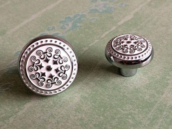 Shabby Chic Dresser Knobs Drawer Knobs Pulls Handle White Silver / Rustic  Kitchen Cabinet Handles Knob