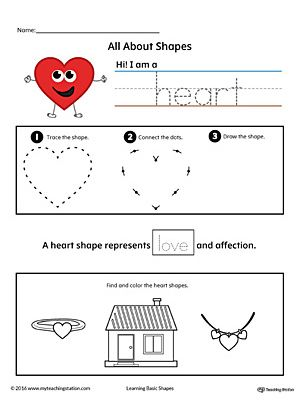 all about heart shapes in color printable worksheets worksheets and learning. Black Bedroom Furniture Sets. Home Design Ideas