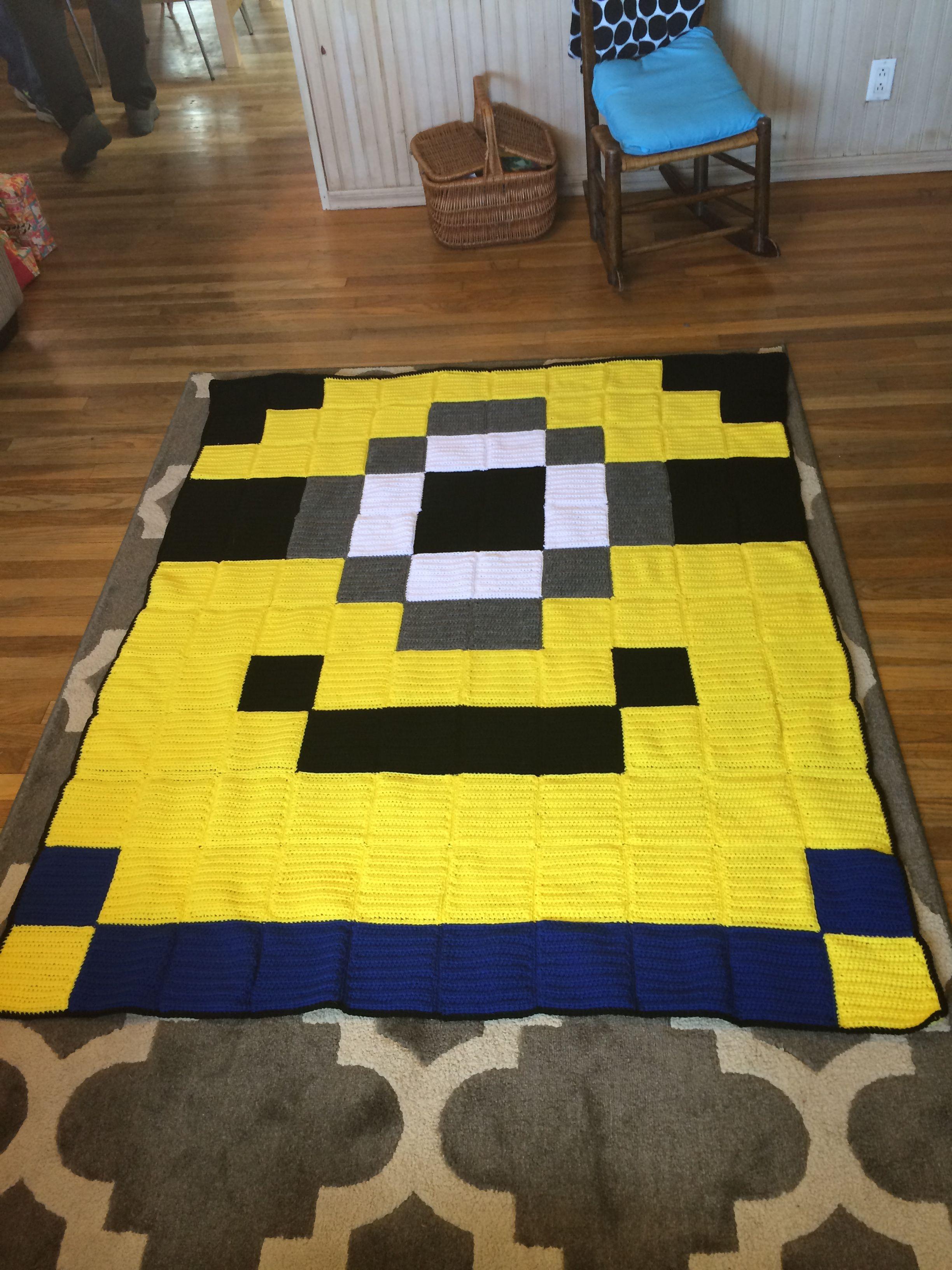 8bit Minion pixel crochet blanket - Crocheted Creations by Nana ...