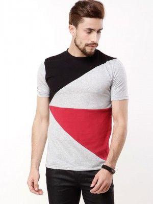 bd06b8b63 KOOVS Colour Block Panel T-shirt | Men's T-shirts | Shirts, Mens ...