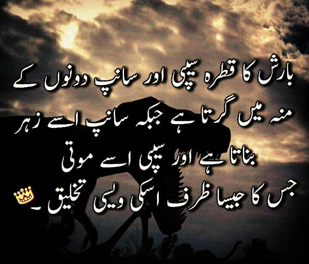 Barish Ka Qatra Seepi Aur Sanp Dono K Monh Main Girta Hai Jab K Saanp Isey Zeher Bnata Hai Or Seepi Isey Moti Jiska Jaisa Deep Words Sufi Poetry Girly Quotes