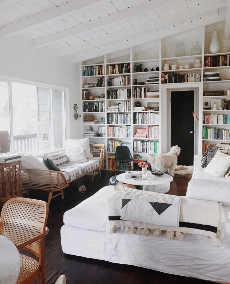 Cozy Reading Room With Floor To Ceiling Bookshelves