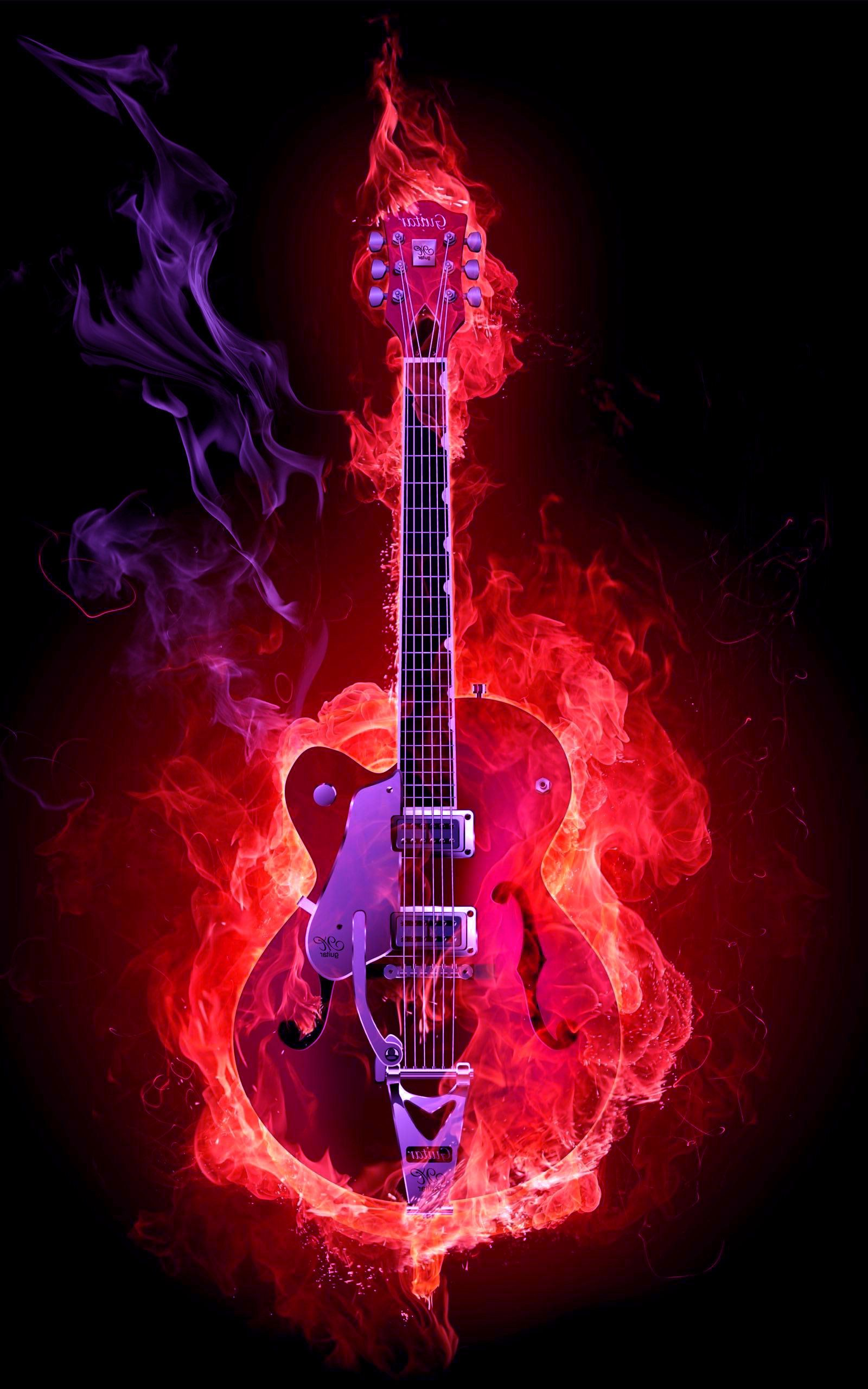 Flame Guitar Hd Wallpaper 1600 2560 High Definition Wallpaper Daily Screens Id 3331 Music Guitar Art Guitar Wall Art Music Artwork
