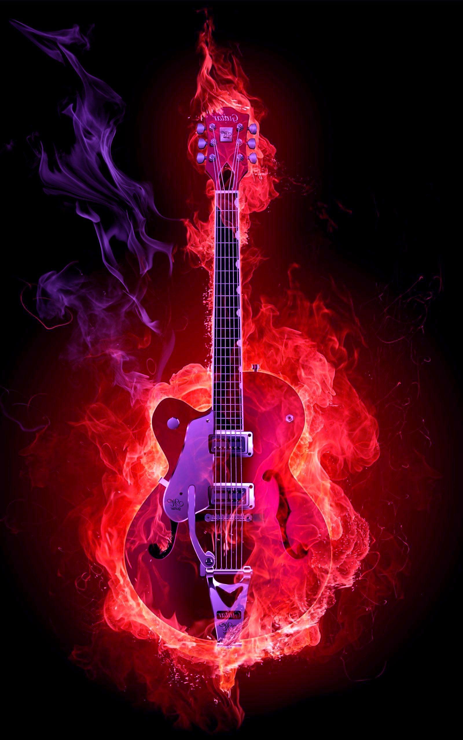 flame guitar hd wallpaper