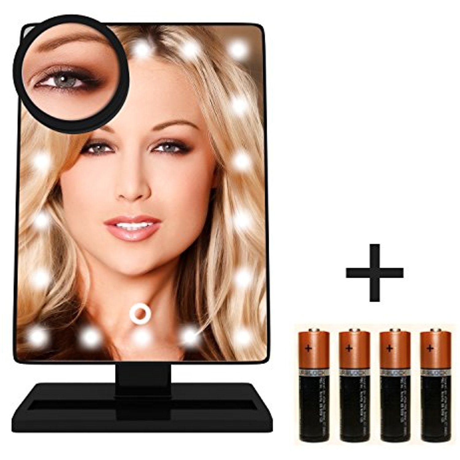Krasr Touch Screen 20 Led Lighted Makeup Mirror With Removable 10x Magnifying Mirrors You