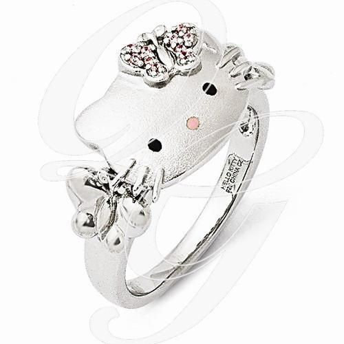 Sterling Silver Hello Kitty Ring Features An Enamel Hello Kitty With  Butterfly Accents On The Shank. Pink Swarovski Elements In The Bow.