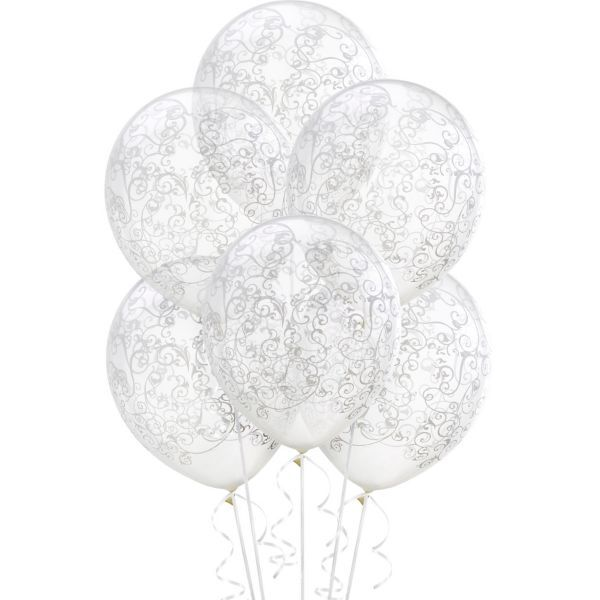 Clear Filigree Balloons 6ct 12in Party City Balloons Wedding Balloons White Balloons Party