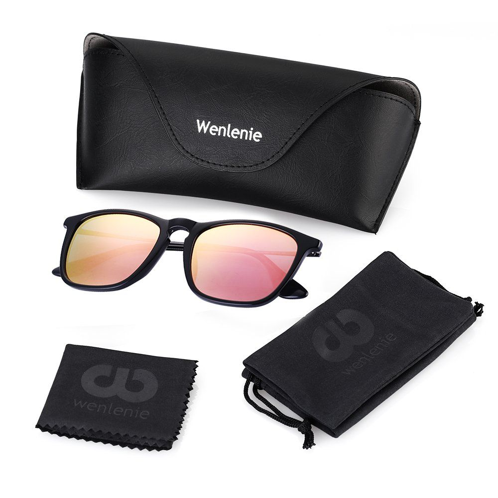049f7a70ef4 Polarized Wayfarer Sunglasses Women Pink Mirror Square Shades by Wenlenie  Lightweight Sunglasses   Visit the image