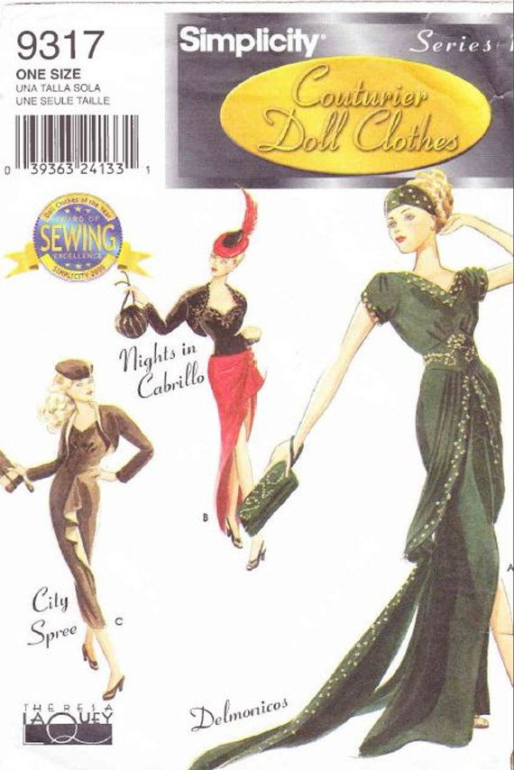 """Couture dolls clothes pattern Simplicity 9317 for 15-16-17"""" Fashion dolls - PDF Pattern"""