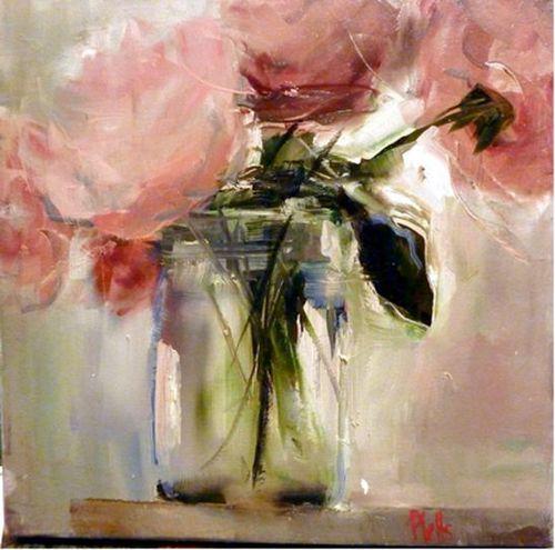 Roses in vase painting pinterest fleur peinture et for Peinture rose pastel