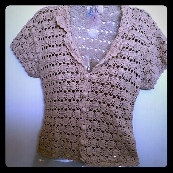 Crochet Top Beige crochet top. Size tag is missing but medium is best guess. 18 inches across the front. Can be dressy with a skirt or great with jeans. R & K Tops Blouses