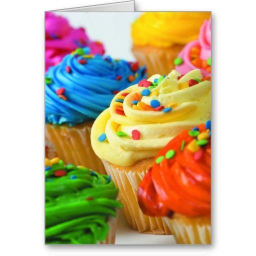 Rainbow cupcake greeting cards