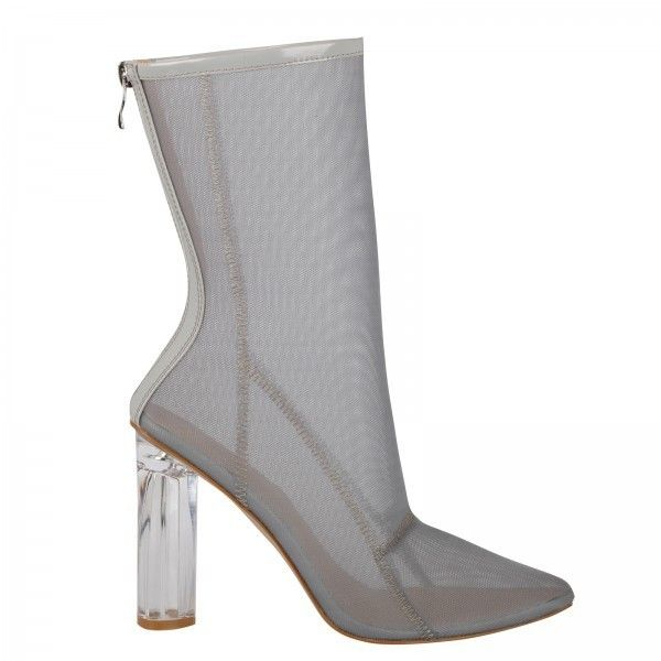Callie High Ankle Heeled Boots In Light Grey Mesh With Perspex Heel (£40) ❤ liked on Polyvore featuring shoes, boots, ankle booties, heeled boots, clear heel booties, short boots, ankle boots and transparent heel boots