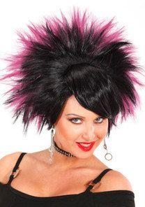 Rockerin Perucke Schwarz Pink Carnival