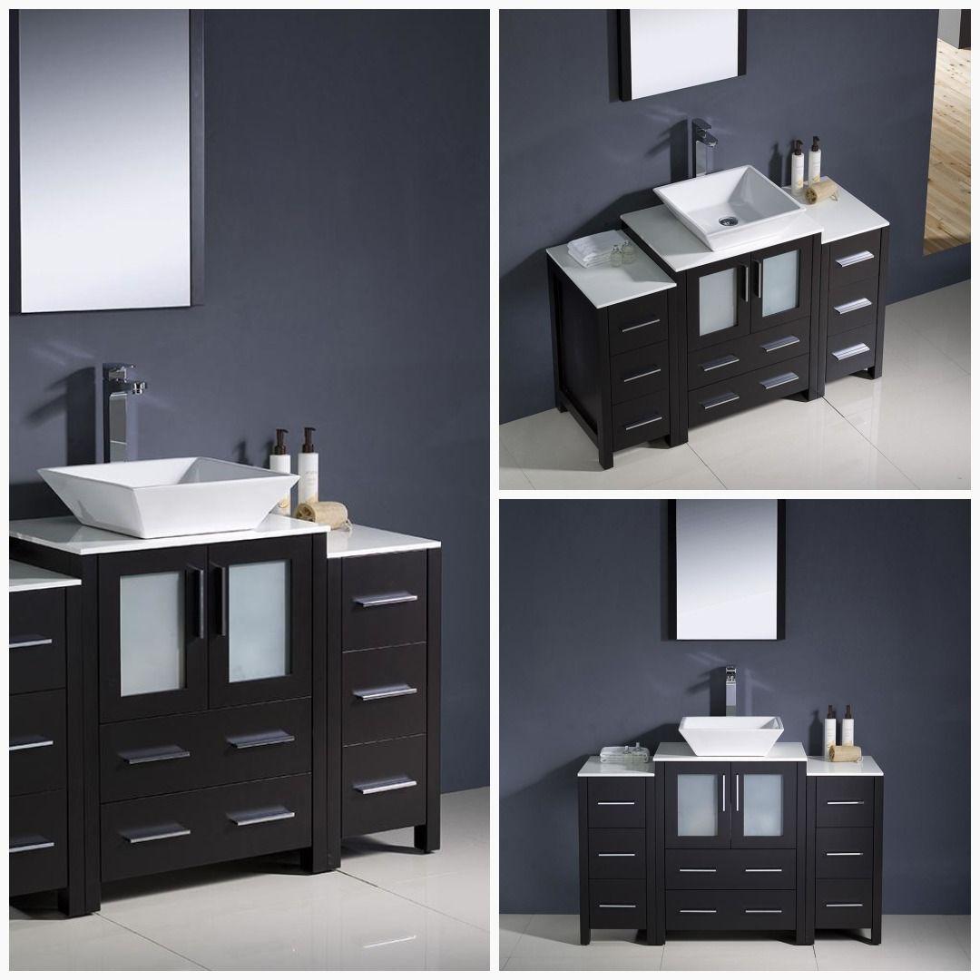 Fresca Torino 48 Espresso Bathroom Vanity Vessel Sink 2 Side Cabinets Bathroom 30 Cabinet Cabinets V Bathroom Vanity Modern Bathroom Vanity Side Cabinet [ jpg ]
