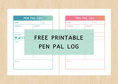 Free Printable Pen Pal Log Keep Track Of Your Pen Pals With These