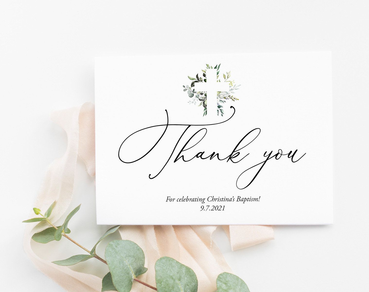 graphic regarding First Communion Cards Printable named Greenery Baptism Thank yourself Card Template, Initial Communion
