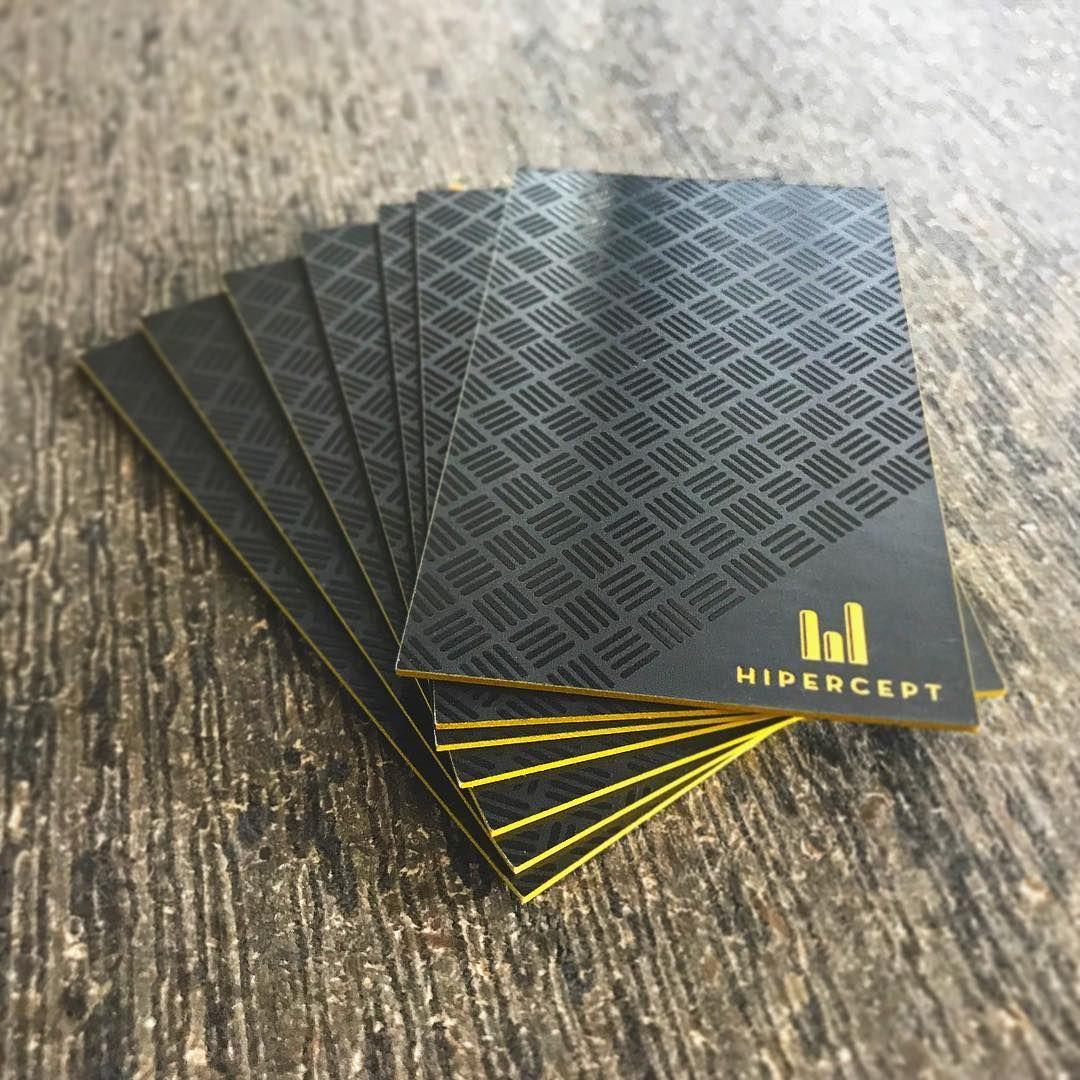 Hipercept Business Card Spot Uv Yellow Edge Spot Uv Business Cards Laminated Business Cards Printing Business Cards