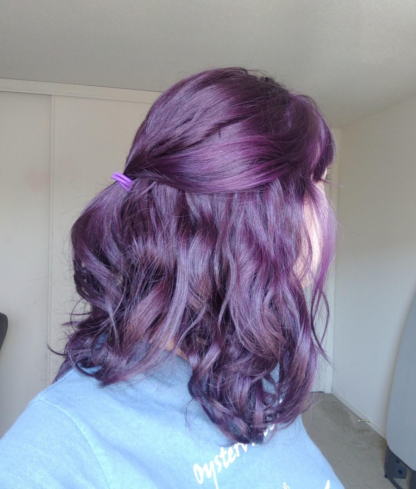 Arctic Fox Purple Rain Over Medium Brown Hair Living Some Grape Flavored Dreams Over Here In 2020 Medium Brown Hair Purple Brown Hair Fox Hair Dye
