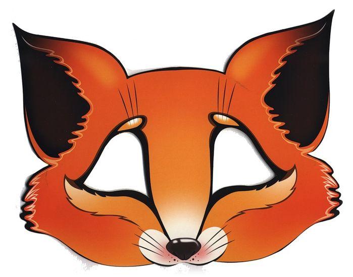 Kids Face Masks Template Animals Orange Fox Cut Out