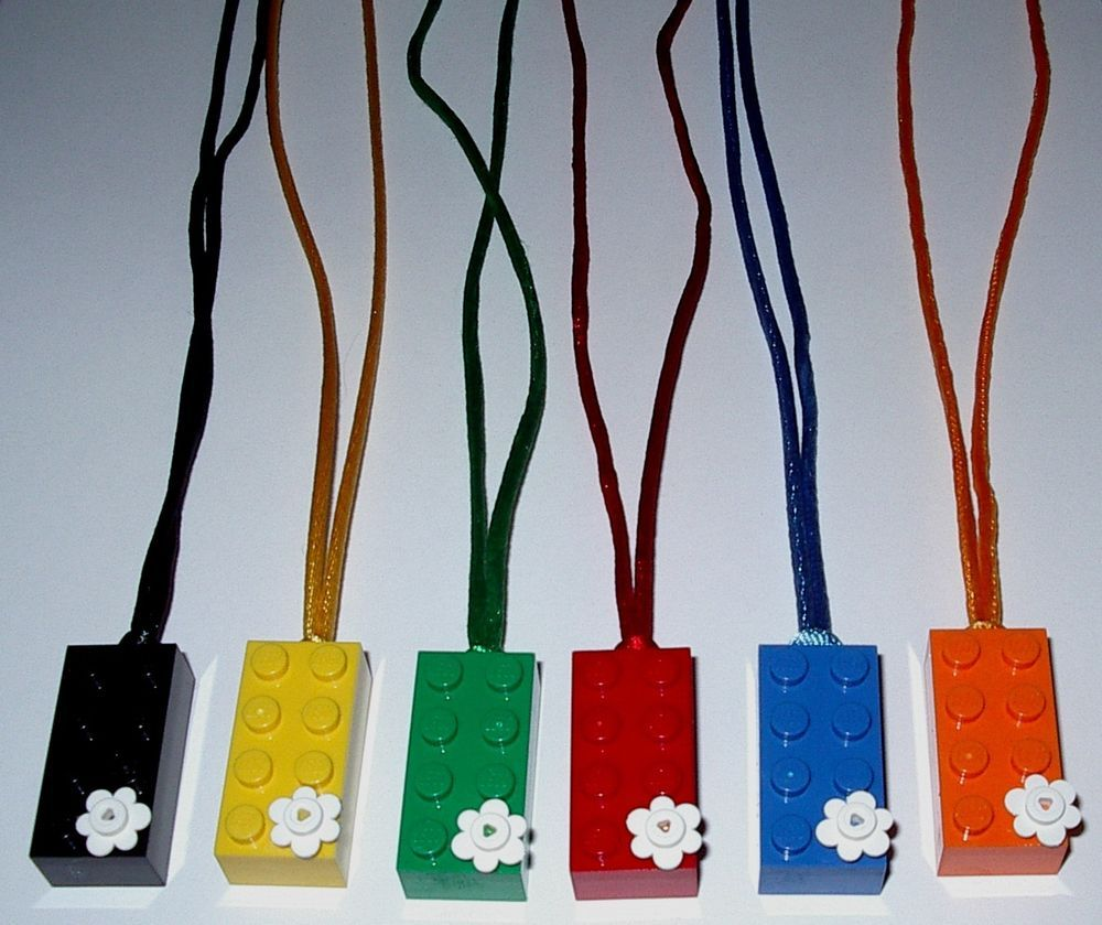 10 MAKE YOU OWN PARTY FAVORS LEGO BRICK BLOCK NECKLACES BIRTHDAY GRAB BAGS GIFTS