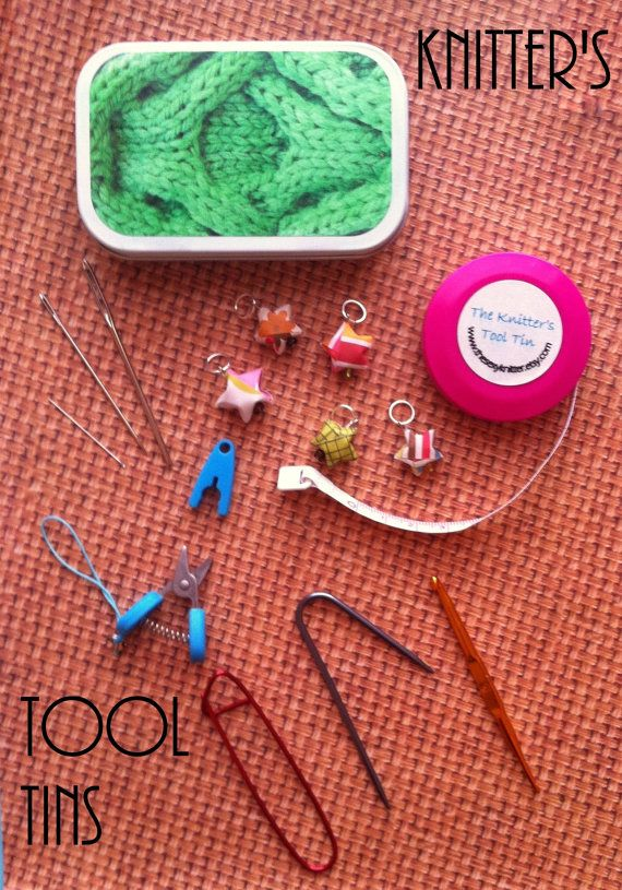 The Knitter's Tool Tin - comes with everything you need for knitting on the go!