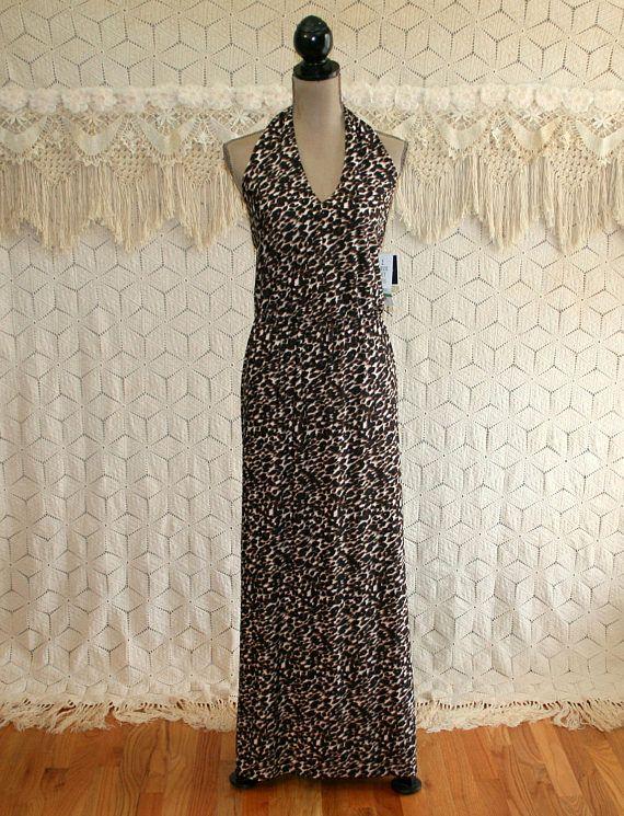 7d88150130 Animal Print Maxi Dress Long Halter Dress Womens Knit Summer Long Halter  Dress