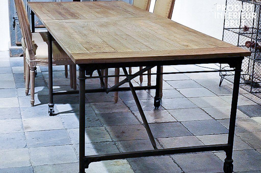 grande table de tapissier d co pinterest industriel tables de repas et longueur. Black Bedroom Furniture Sets. Home Design Ideas
