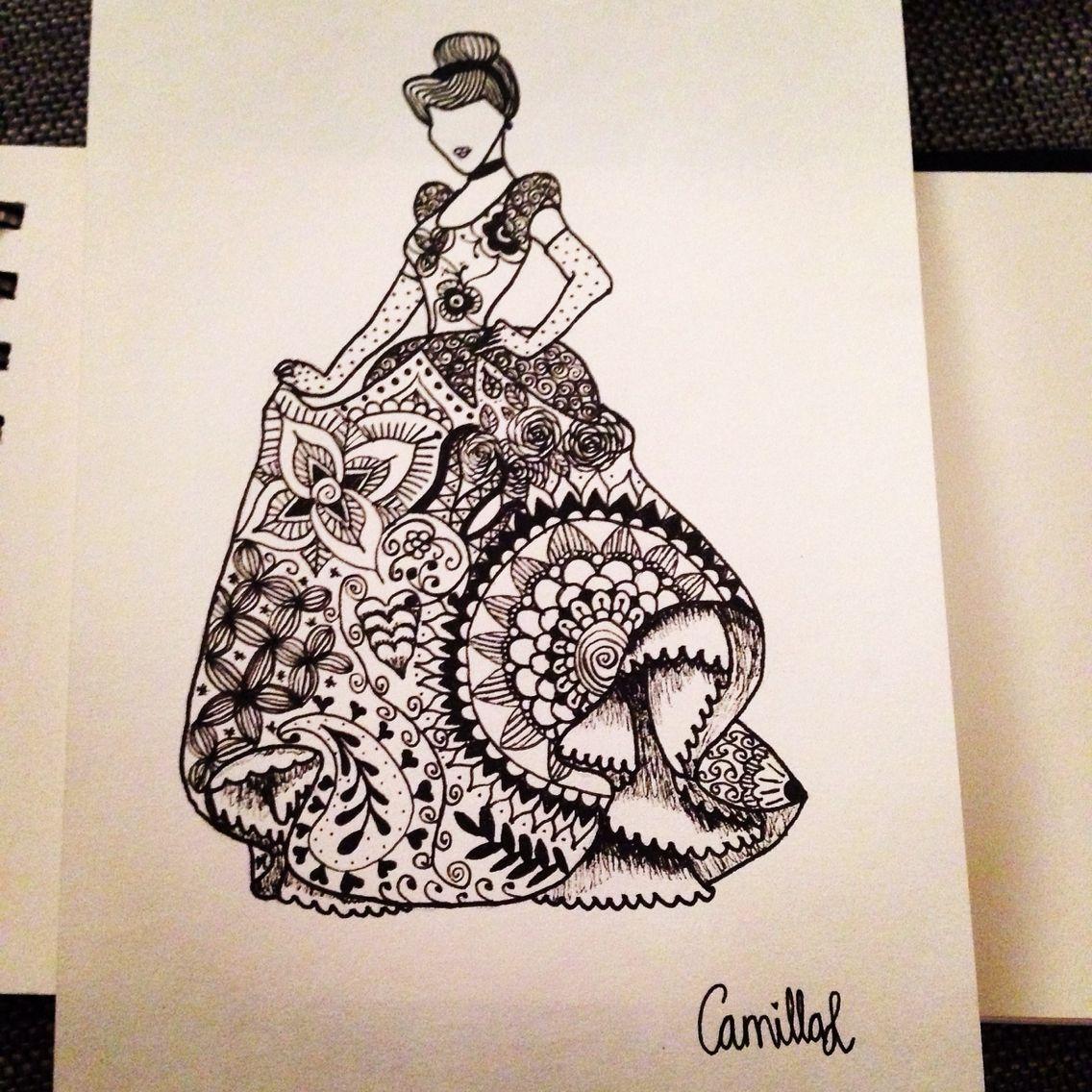 Zentangle cinderella drawing disney princess Stress