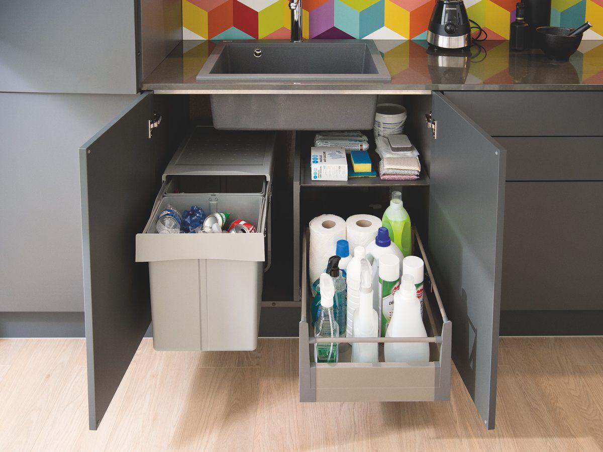 Rangement Des Produits D Entretien meuble bas de cuisine avec panier amovible range poubelle et
