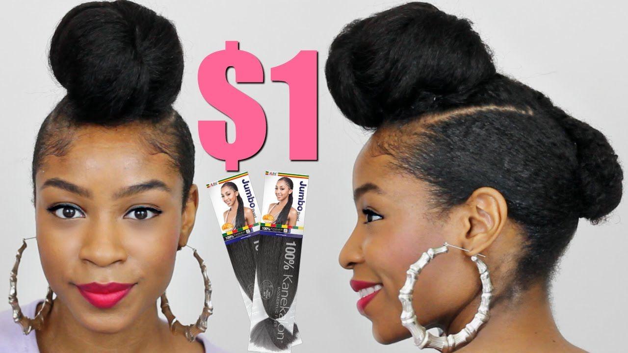 Faux Shaved Sides Top Knot Bun With Kanekalon Hair Natural Hair