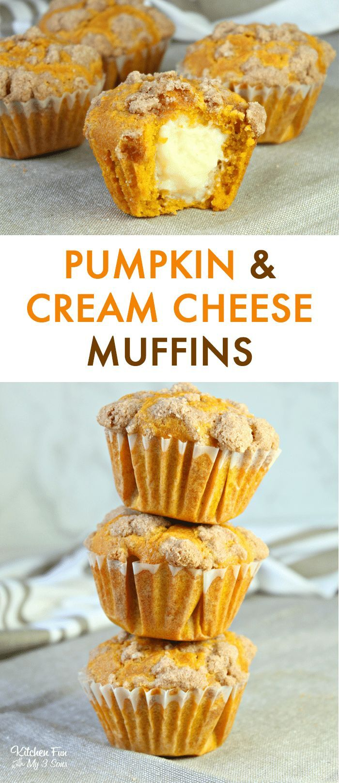 Pumpkin Cream Cheese Muffins - Delicious Pumpkin Muffins With a Streusel Topping and Amazing Cream C #pumpkinmuffins